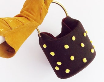 1950s lucite brown and yellow wool purse / 50s rockabilly purse / 1940s 50s box purse /
