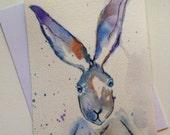 Crazy Eyed Rabbit Original Watercolor Painting 6x9 Nature wildlife