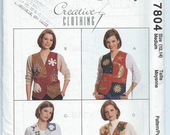 McCall's 7804 Misses' Lined Vest and Appliques - Size Medium - Uncut Vintage Pattern