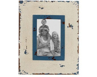 Distressed White Picture Frame with Blue Inset- 4X6, Hillcrest