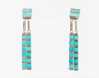 Native American Turquoise Inlay Earrings - Navajo Sterling Posts - Signed