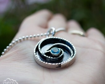 Sterling silver and Swiss Blue Topaz Long necklace pendant - Breaking Waves -