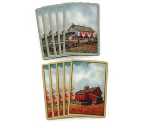 Vintage Barn Playing Cards, Set of 10 Playing Cards, Vintage Playing Cards, ATC Playing Cards, Barn, Red Barn, Vintage Country Playing Cards