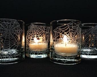 Webs 4 Glass Votive Candle Holders Halloween Favors Engraved 'Webs' Party Favors Unique Decor