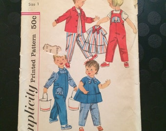 Simplicity Sewing Pattern 2743- Toddler Shirt, overalls, top sz T1