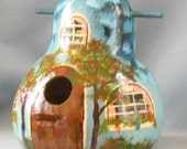Bird House Gourd Original Hand Painted Blue Cottage
