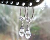 CIJ SALE 20% OFF Swarovski Crystal Teardrop Earrings, Cubic Zirconia Earrings, Sterling Silver Cz Leverbacks, Chic Bridal Earrings, Ready to