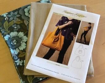 Tote bag sewing pattern, Fabric & Pattern Kit, Kit with Pattern and Fabric, halloween tote, Halloween Goodie Bag Pattern, Spooky fabric