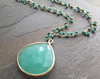 SASHA-Large Gold Framed Aqua Quartz Teardrop with Turqouise and14Kt Gold Chain Necklace