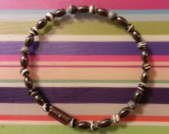 Magnetic Hematite Anklet with Black and White Accent