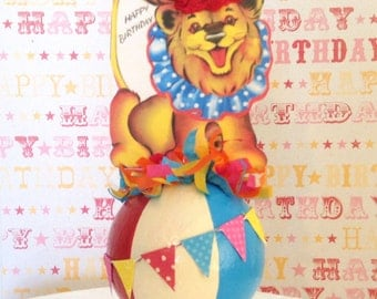 Circus Lion on Colorful Ball/Cake Topper