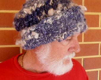 mens slouch beanie unisex beanie  Hand Spun Hand Knit  Hat Art Yarn large beanie hat adult size