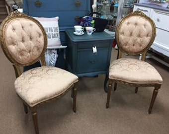 Gold Damask Tufted Chairs