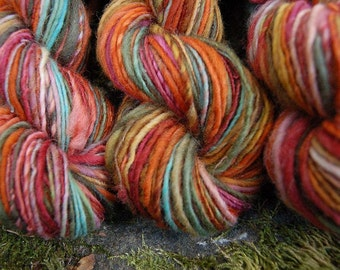 Handspun yarn, handpainted yarn, wool  thick and thin worsted yarn, multiple skeins available-Magh Meall