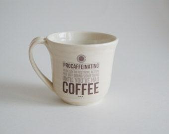 Large Coffee Mug - Large Mug with Coffee Decal - Light Yellow Ceramic Mug - Large Porcelain Cup