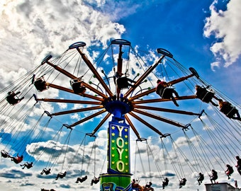 Yoyo Carnival Swings Ride Fine Art Print- Carnival Art, County Fair, Nursery Decor, Home Decor, Children, Baby, Kids