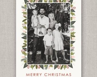Festive Floral Christmas Photo Card