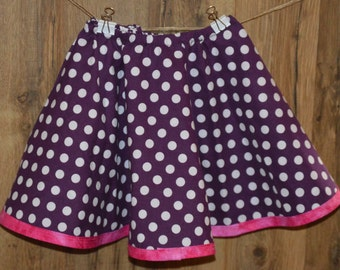 Toddler Circle Skirt Reversible Purple and White Polka Dot and Floral with Hot Pink Trim to Twirl Dance and Play