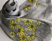RESERVED Hand Painted Silk Scarf - Handpainted Scarves Yellow Black Gray Grey Charcoal Lemon Sun Bumblebee Bumble Bee Flowers Daisies Daisy