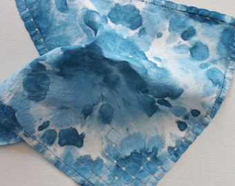 Hand Dyed Handkerchief - Vintage Cotton Ladies Hankie - Something Blue Old Bridal Bride Shower Wedding Light Blue Denim Navy White Tie Dyed