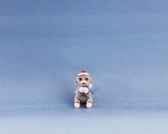 Miniature Handmade Sock Monkey, Dolly,Dollhouse Baby Nursery Toy, Ooak, Artist Doll, Cheryl Brown