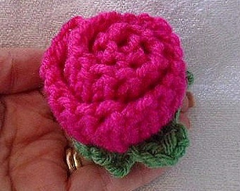 Knitted Rose, KNITTING PATTERN, Easy enough for beginners, flower embellishments, pattern # 854