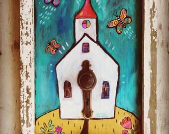 Folk Art Framed Church Painting