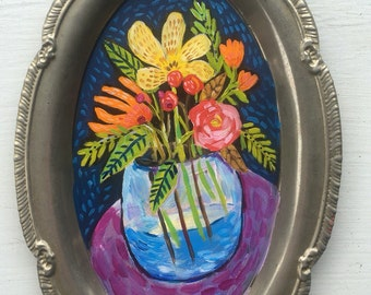 Folk Art Floral Painting on Recycled Tray