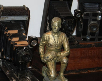 Vintage SPORT TROPHY Top- Kneeling FOOTBALL Coach Award- Distressed Gold Metal Plated- Heavy