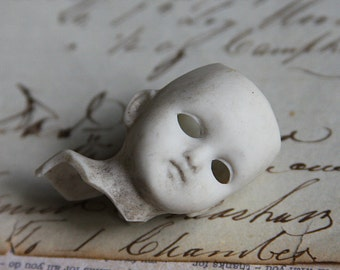 Small Porcelain DOLL HEAD- Scary Doll Parts- Spooky Eyes- Vintage Doll- Antique Figure