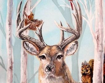 Deer art, Animal artwork, Deer in trees, Birch tree art, Deer in woods, bird nest art, nursery wall art