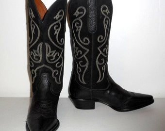 Womens Size 6.5 M Cowboy Boots Western Fashion Black Cowgirl Nine West Evie
