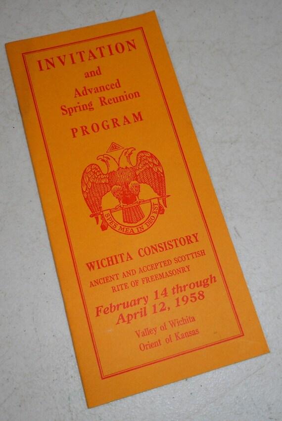 1958 Freemason Invitation And Program Wichita Ks