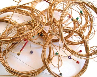 Guitar Wire Strings for Bracelet, Jewelry making, Craft supplies, ornaments, lot of 60 strings, bangle Wire, Free Shipping
