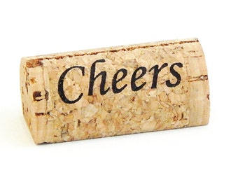 """Custom Printed Wine Cork Place Card Holders - """"Cheers"""""""