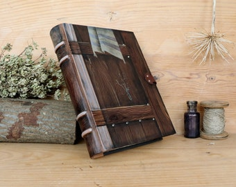 "Leather Journal, Blank Book, Hand tooled and painted decoration, ""Gate to the Spirit"", One of a Kind (1/4)"