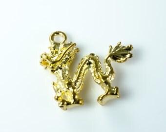 Brass Rampant Golden Dragon Chinese New Year Pendant