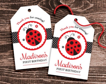 Personalized Ladybug Party Favor Tags –  DIY Printable – Hang Tags – Classic Red and Black (Digital File)