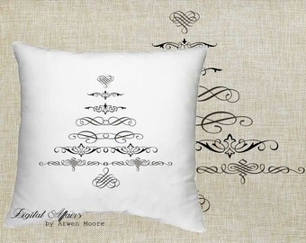 Digital Download Holiday Collection Vintage Black & White Swirly Christmas Tree Image For Papercrafts, Transfer, Pillows, Totes, Etc va027