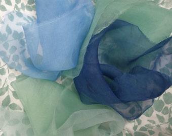 "Organza Silk Fabric 4 Pieces Fresh Indigo Blue Green Sheer Organza Silk Natural Dye 11""x 18"" Textile Art Fabric Flower Making Price Reduced"