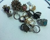 Repurpose salvage Flower Ring Beaded Cluster Gold tone Rhinestone earring lot destash harvest
