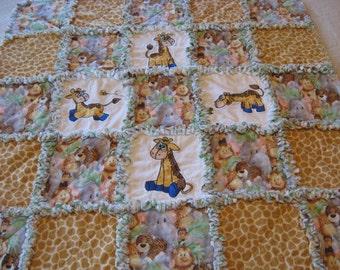 Baby Jungle Animals Baby Boy or Girl Rag Quilt Blanket 35x35