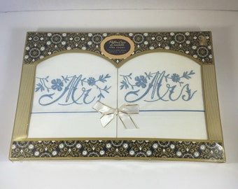 New Vintage Mr. and Mrs. Pillowcase Set In Original Packaging