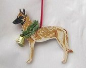 Hand-Painted BELGIAN MALINOIS Wood Christmas Ornament Artist Original...Nicely painted
