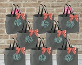 ONLY 9.00 each/ Set of 8 bridesmaid tote bags , bridesmaid gifts , tote bag , beach bag , bachelorette party gift ,wedding bag