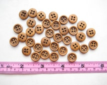 25 pcs of 1 cm Brown Wood Button - 4 Holes Round simple walnut oak mini tiny small natural Wood Sew knit crochet craft diy creative projects