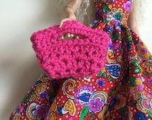 Handmade Ellowyne Gene Clothes Purse Handbag Crochet Dark Pink New Design by P D Reneau