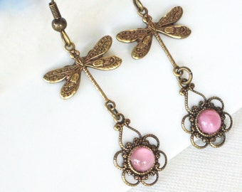 Brass Dragonfly Earrings - Pink Earrings, Filigree Earrings, Dragonfly Jewelry