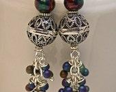RESERVE MARIANNE Vintage German Glass Bead Earrings, Miyuki Japanese Iridescent Fringe Beads, Bali Sterling Silver Beads/ Ear Wires