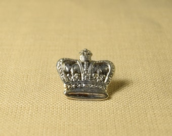 Silver Crown Lapel Pin Brooch